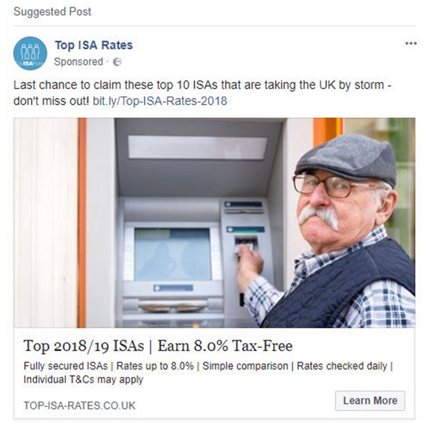 Facebook advert for Top ISA Rates